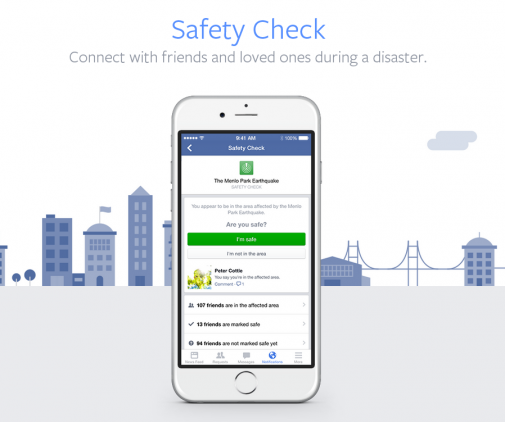 New safety check-in feature on Facebook